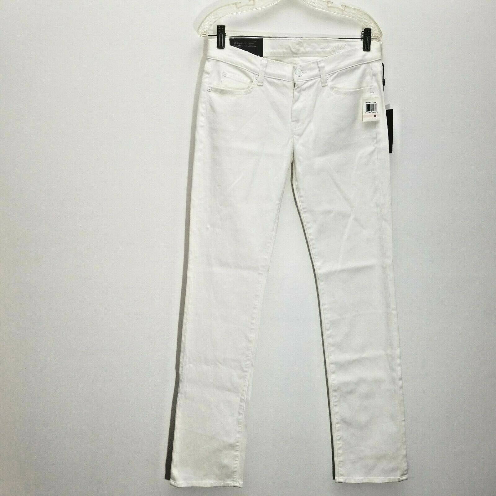 7 For All Mankind Womens Classic Straight Leg Jeans 28 Stretch Denim Clean White