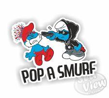 Pop a Smurf Poppa Cartoon Series Blue Car Van Sticker Stickers Decal Funny