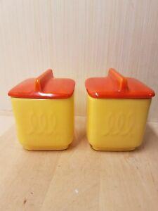 Vintage-Franciscan-Ware-Toastmaster-Jam-Jars-Set-of-2-Yellow-with-Orange-Lids