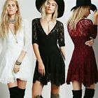 New 3/4 Sleeve V-neck Women High Waist Cocktail Party Fit Flare Lace Mini Dress