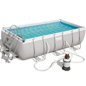 Bestway-56442-Frame-Pool-Power-Steel-404x201x100cm-Sandfilterpumpe-Leiter