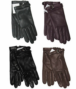 395-Ralph-Lauren-Purple-Label-Womens-Solid-Leather-Cashmere-Buckle-Gloves-New