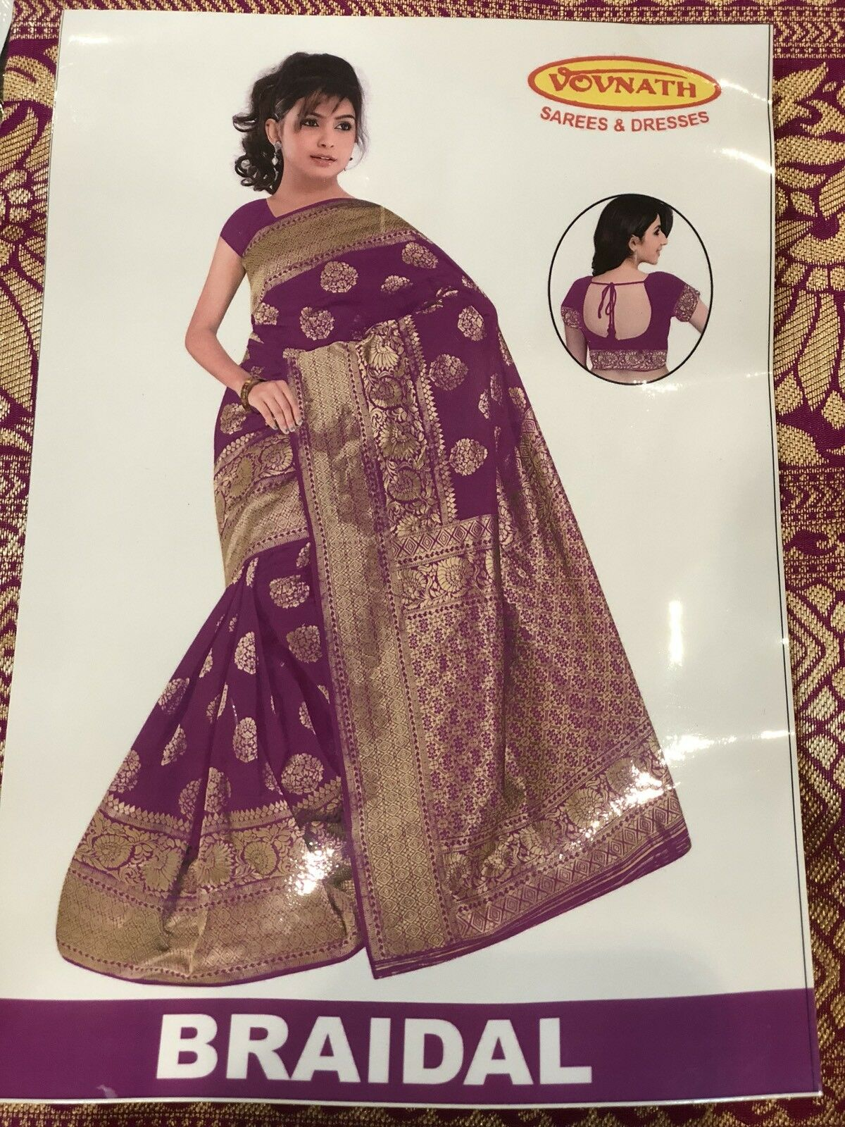 Bollywood EID Saree Indian Cotton Silk Magenta Gold Diwali Bridal Sari ML5