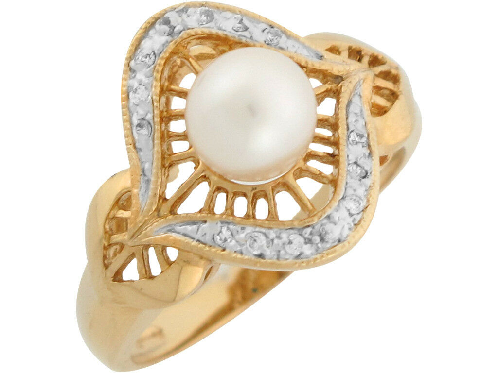 10k or 14k Two Tone gold Diamond Freshwater Cultured Pearl Classy Ladies Ring