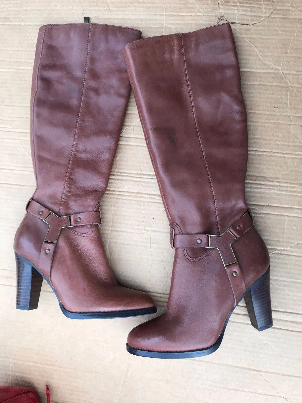 Lauren Blakwell Ridley Tall Cognac boots SIZE 6M HEEL 3-1 4''