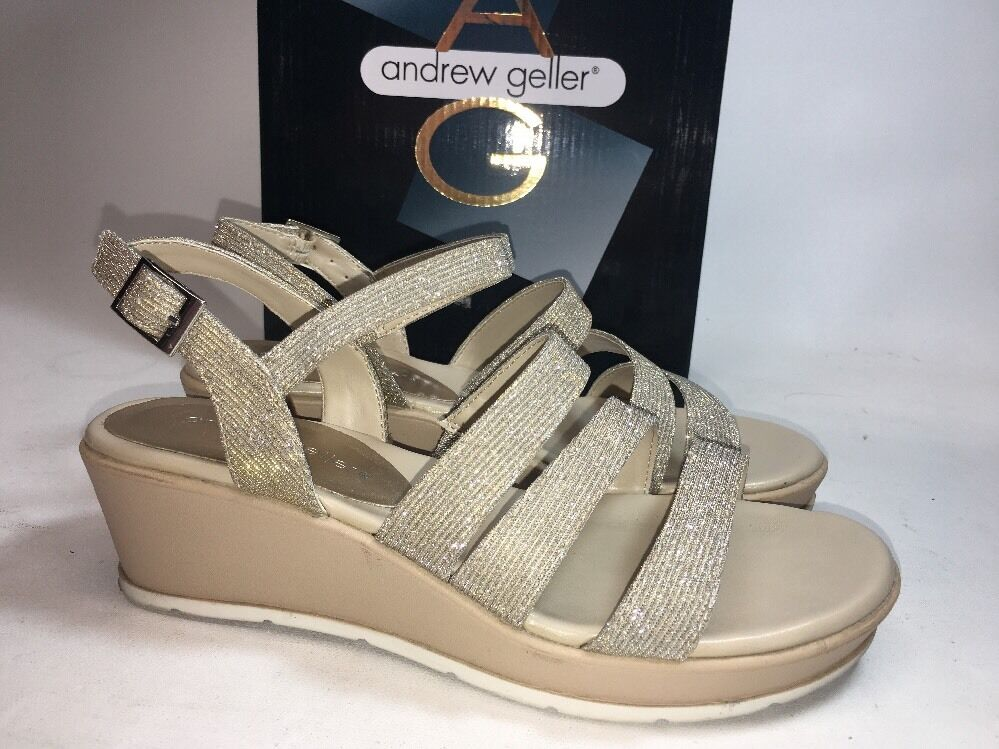 Andrew Gold/Silver Geller Wedge Bling Glitter Gold/Silver Andrew Frisca Sandals Womens 6M EXCELLENT 03e37d