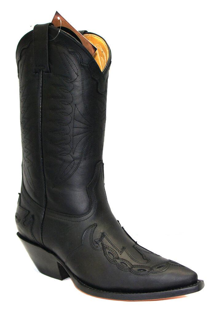 Grinders Arizona Nero Unisex in Pelle Stivali Cowboy punta Western Mocassini Stivali a punta Cowboy 8a8ca3