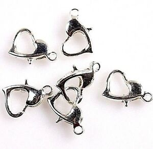 x6-FANCY-HEART-SHAPED-LOBSTER-CLASP-SILVER-COLOUR-JEWELLERY-MAKING-UK-SELLER