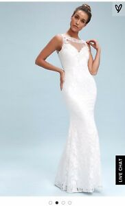 Details About Lulus Embroidered Lace White Maxi Dress Xs Mermaid Inga Beach Wedding New 109