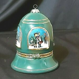 Vintage-Mr-Christmas-Bell-Ornament-Musical-Handcrafted-Green-4-1-2-034-Preowned