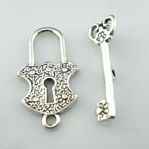 12//36pcs Tibetan Silver Lock and Key Charms Switch Toggle Clasp Fit Bracelet