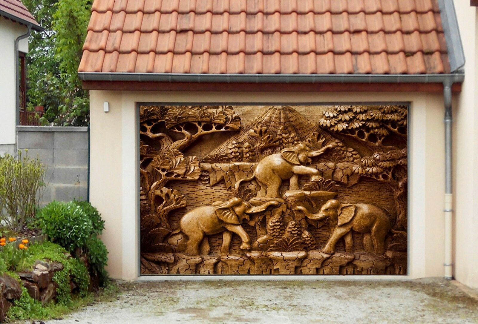 3D Elephant 9012  Garage Door Murals Wall Print Decal Wall AJ WALLPAPER UK Carly