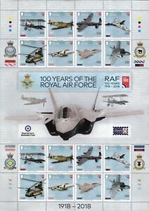 2018 ISLE OF MAN - 100 YEARS THE ROYAL AIR FORCE COMMEMORATIVE STAMP SHEET, MNH.