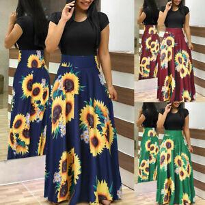 Summer-Womens-Short-Sleeve-Sunflower-Print-Blouse-Casual-Swing-Dress-Maxi-Dress