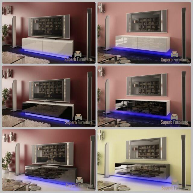 Superbe meuble tv unité armoire 140cm + flottant ou debout + gloss + led