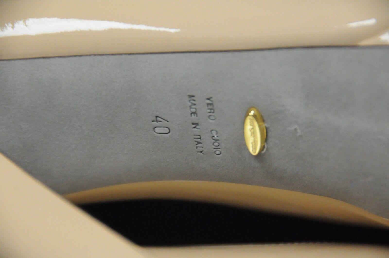 Neuf Sergio Rossi Milady Chair Beige Plateforme Plateforme Plateforme Cuir Chaussures Plates 40 a74563