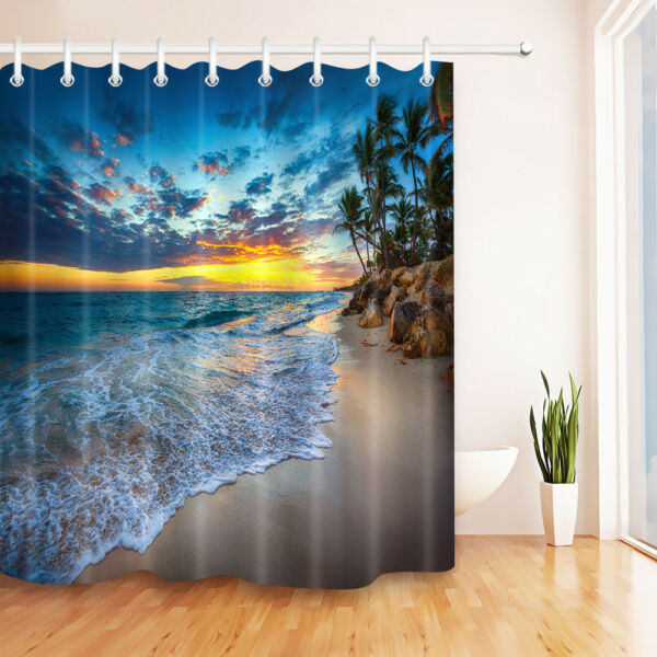 Palm Tree Shower Curtain Hooks Polyester Fabric 72 Hover To Zoom