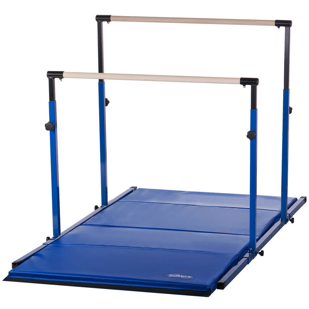 Kids Adjustable Uneven Bars Gymnastics Mat Combo for Home