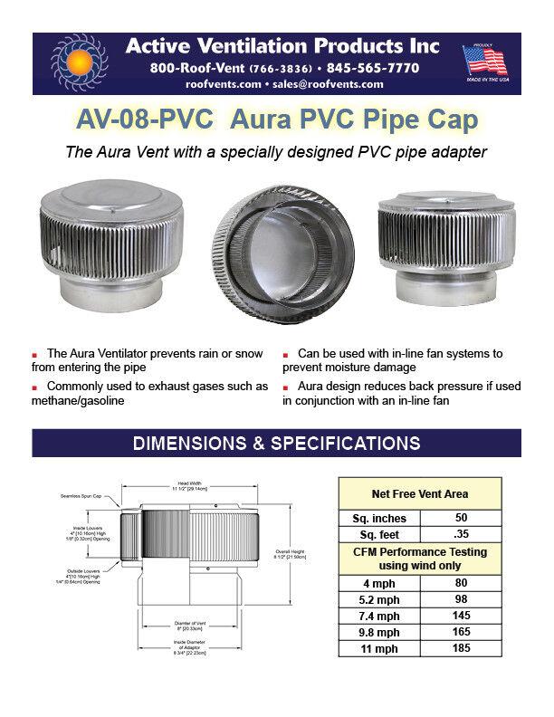 ACTIVE VENTILATION AV-6-PVC-BL Aura PVC Vent Cap 6 in Dia Exhaust Vent