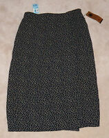 Carole Little Long Wrap-like Skirt Black/tan 50s Floral Womens Size 20w Plus