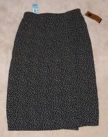 Carole Little Long Wrap-like Skirt Black/tan 50s Floral Womens Size 20w Plus