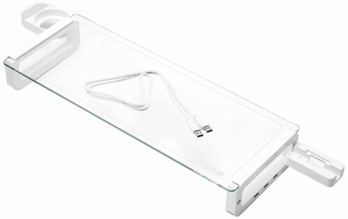 iTrend 5mm Tempered Glass Smart Monitor Stand with Built-in USB3.0 HUBs - White