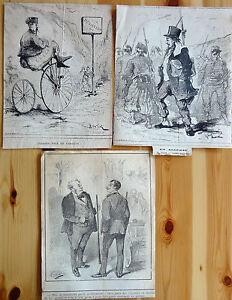 HENRIOT-Le-CHARIVARI-Caricatures-Humour-XIXe-Algerie-Grece-3-Lithographies