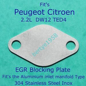 EGR-Valve-Blanking-Plate-Peugeot-Citroen-2-2-HDi-PSA-DW12-TED4-Engine-Ally-Inlet
