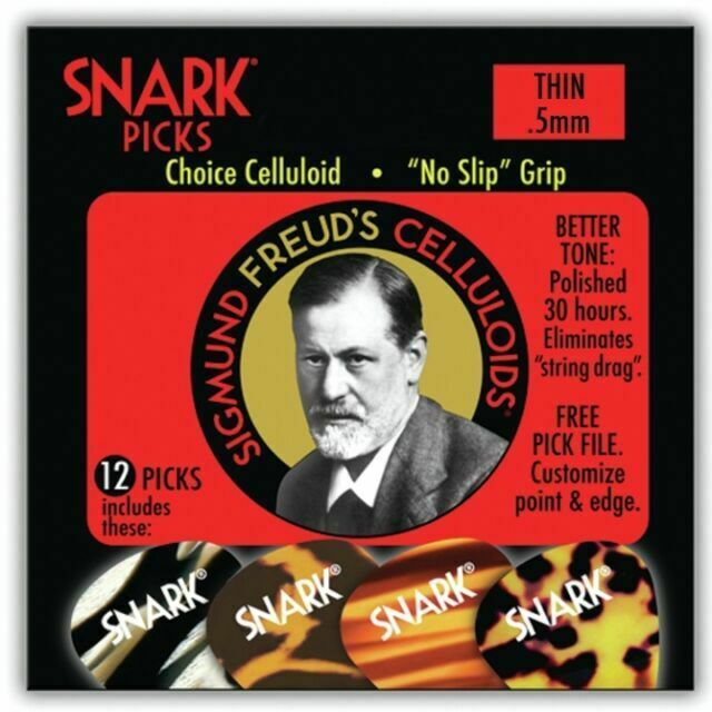 New Snark Guitar Picks No Slip Grip .50 mm Sigmund Freud Celluloid 12 pack