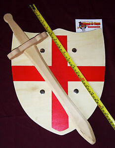 Wooden-Toy-Sword-and-Shield-Set-St-George-England-Role-Play-Fancy-Dress-LARP