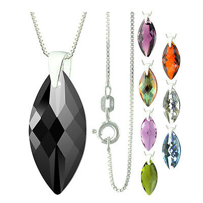 925 Sterling Silver Faceted Navette Black Oynx Pendant Necklace