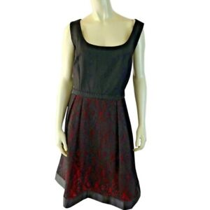 Luxe-Carmen-Marc-Valvo-Dress-16W-New-Black-Red-Lace-Skirt-Beaded-Waist-Party