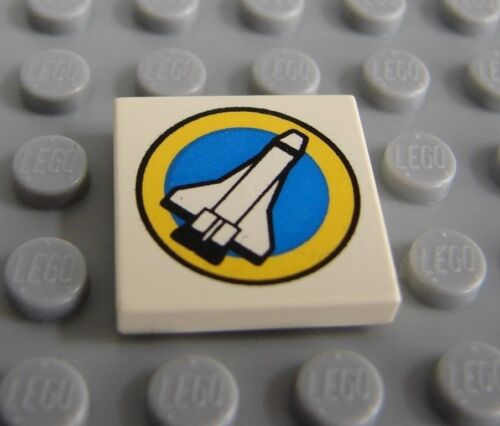 LEGO White Tile 2 x 2 with Space  Shuttle and Yellow Circle Pattern 6456 6455