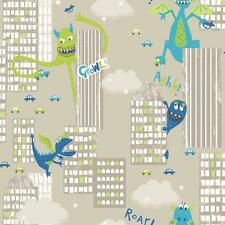 Arthouse Monster Madness Ciudad Dragon Dinosaurio Para Niños Wallpaper Verde Gris