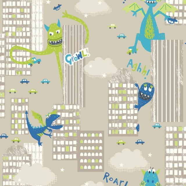 Arthouse Monster Folie Ville Dragon Dinosaur Papier Peint pour Enfants Vert