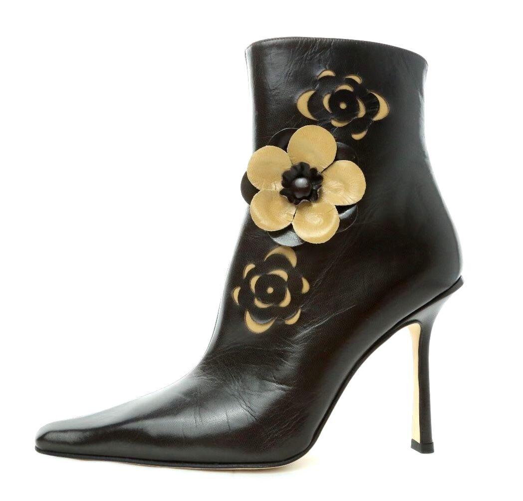wholesape economico Jimmy Choo Marrone Camel Voila Pointed Toe Floral Cutout Leather Leather Leather avvioies Dimensione 39  risparmia il 35% - 70% di sconto