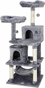 """57"""" Cat Tree Condo Pet Furniture Activity Tower Play House with Perches Hammock"""