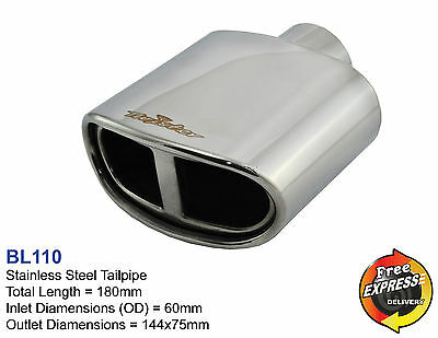 Exhaust tip Tailpipe Trim Oval 144x75mm for BMW Ford KIA Super Sprint Style