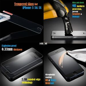Premium Tempered Glass Screen Protector For iPhone 5 5S Retail PackFree Post - London, United Kingdom - Premium Tempered Glass Screen Protector For iPhone 5 5S Retail PackFree Post - London, United Kingdom