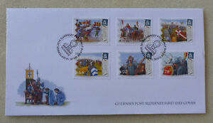 2016-ALDERNEY-950th-BATTLE-OF-HASTINGS-SET-OF-6-STAMPS-FDC-FIRST-DAY-COVER