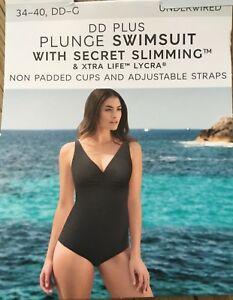 Details about M&S BLACK PLUNGE SECRET SLIMMING SWIMSUIT NO PADDING UNDERWIRED SIZE 34DD