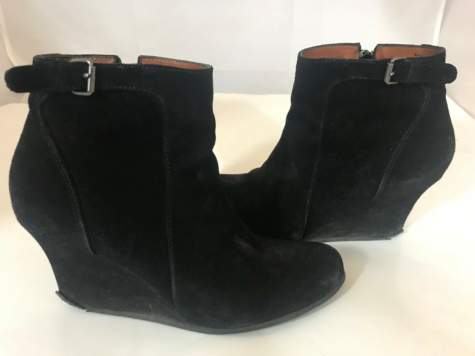 LANVIN 12418 BLACK SUEDE WEDGE ZIP UP BOOTIE SZ 36.5