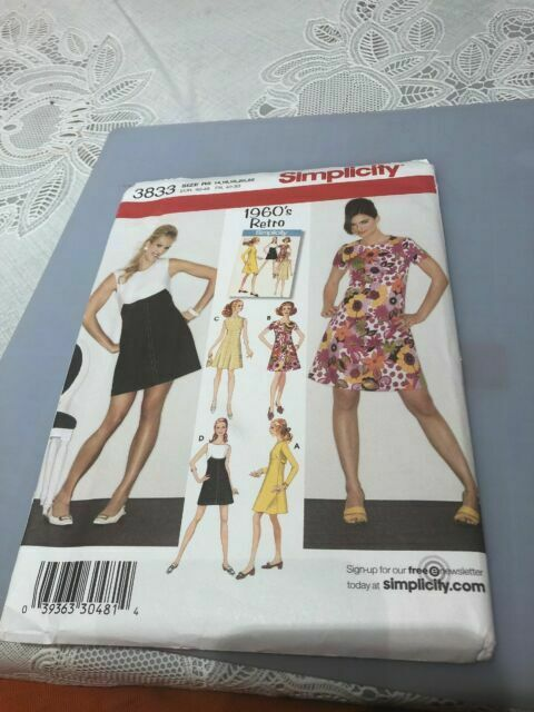 Simplicity Sewing Pattern 3833 Miss//Miss Petite Dresses H5 6-8-10-12-14