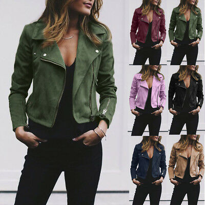 Zipper Up Bomber Jacket Womens Ladies Retro Rivet Casual Coat Outwear