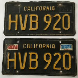 Details about 1963 California License Plate PAIR Plates Black 1960's 1976  ALL ORIGINAL
