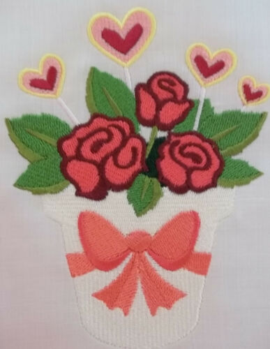 """Embroidered Quilt Block Panel /""""Blooming Flowers/"""" Pure Irish Linen Fabric"""