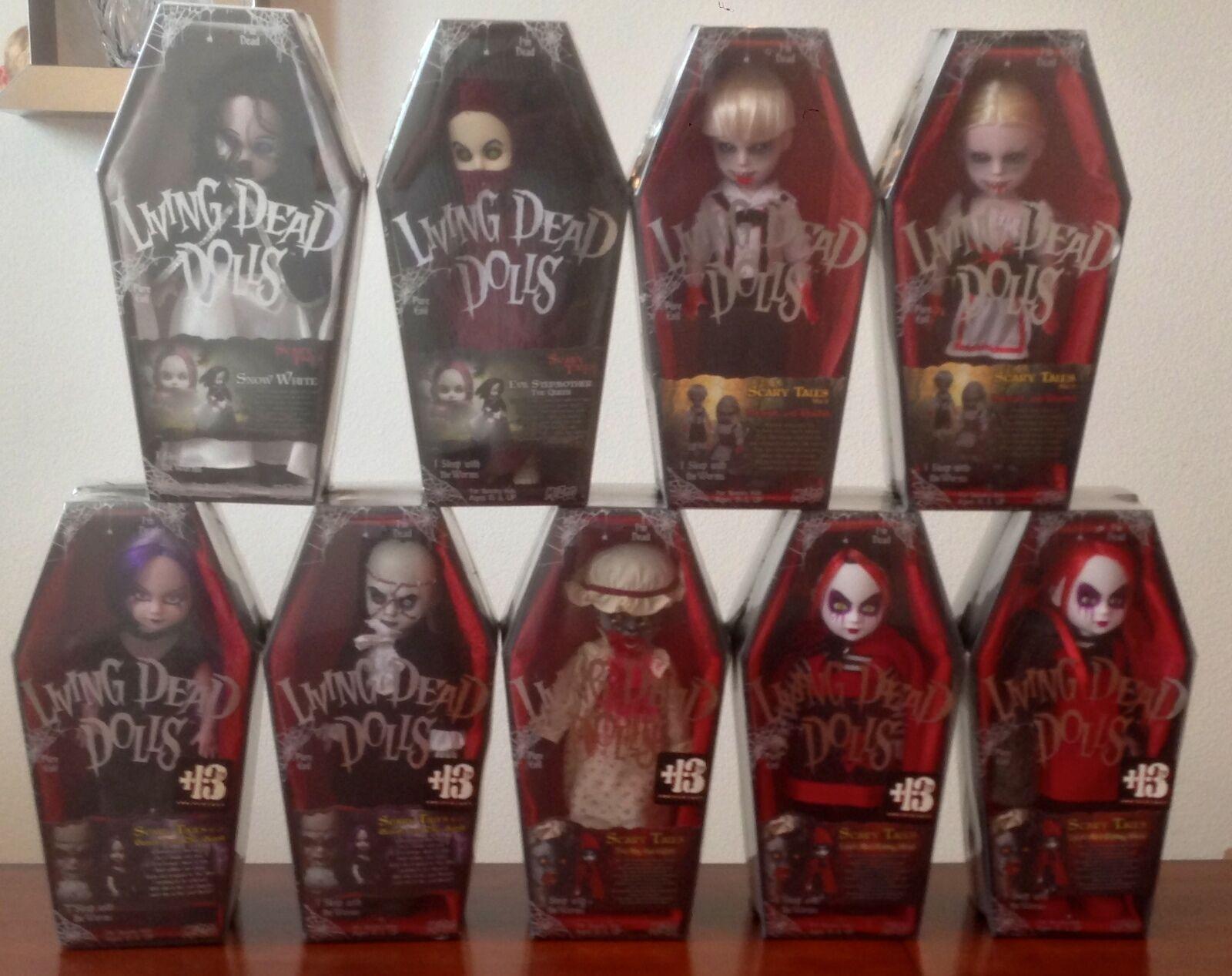 Mezco Living Dead Dolls Miedo Cuentos serie 1-4 Conjunto de 9 Muñecas Sellado Nuevo En Caja
