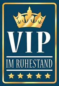 Vip IN Retirement Pensioners Tin Sign Shield Arched 20 X 30 CM FA1193