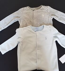 ca8b26833 Ralph Lauren BabyBoys Striped Velour Babygrow Coverall Footed Romper ...