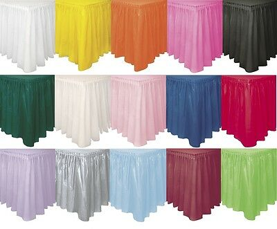 """Plastic TABLE SKIRT (29"""" x 4.3m)Plain Solid Colours Party Birthday Tablecover"""